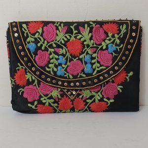 Vintage Floral Embroidered Satin Bag Clutch